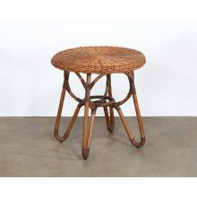 Natural Rattan Woven Over Rattan End Table