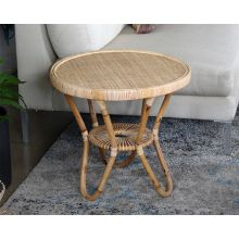 Rattan End Table W/Woven Cane Top