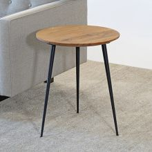Round Reclaimed Chestnut End Table With Metal Legs