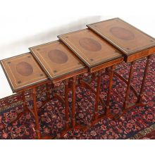 Set Of 4 Mahogany Nesting Tables With Inlay