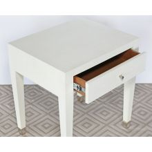 Wrapped White Linen End Table Or Nightstand
