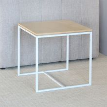 Blonde Wood Top With White Base  End Table