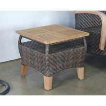 Brown Outdoor End Table With Teak Top