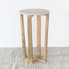 Mango Wood And Marble End Table - 30H