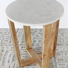 Mango Wood And Marble End Table - 20H