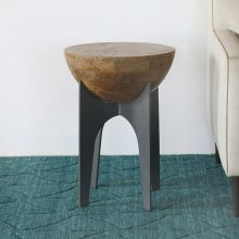 Mango Wood Half Sphere End Table