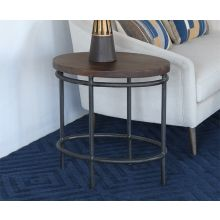 Oval Mango Wood Top End Table With Iron Base