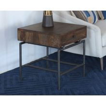 Mango Wood Top End Table With Iron Base