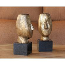 Pair Of Gold Abstract Head Sculptures--Cleared Art