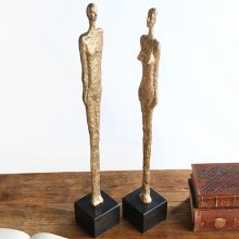 Pair Of Gold Abstract Statues - Cleared Art