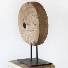 Primitive Wood Disc Sculpture - Cleared Decor