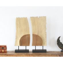 Pair Of Wood Abstract Figures - Cleared Decor
