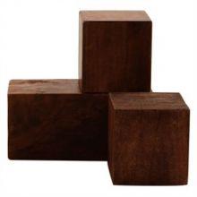 Set of 3 Dark Walnut Cubes - Cleared Décor