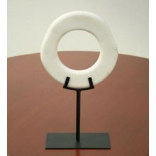 Large Open Circle Marble/Iron Sculpture - Cleared Décor