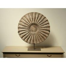 Small Carved Sun Wood Sculpture on Iron Stand - Cleared Décor