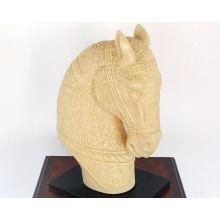 Cream Etched Horse Head Sculpture