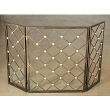 Bronze Iron Fireplace Screen with Brass Accents