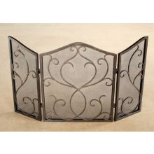 Bronze Flare Scroll Mesh Fireplace Screen