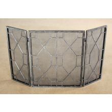 Pewter Mesh Geometric Fireplace Screen