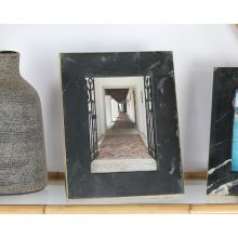 Large Black Marble And Brass Frame 5W X 7H