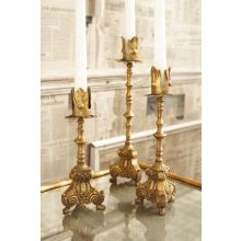 Set of 3 Gold Leaf Tapered Candle Holders