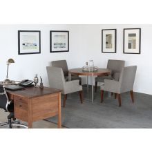 Round Walnut Dining Table with Stainless Steel Legs