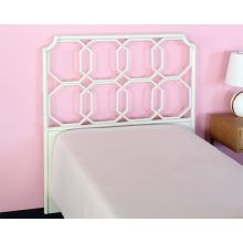 White Twin Rattan Headboard W/Leather Wrapped Join