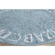 Round ABC Rug In Natural & Vintage Blue
