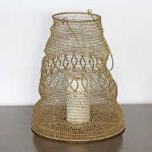 Large Antique Brass And Iron Wire Lantern