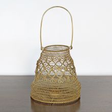 Small Antique Brass And Iron Wire Lantern