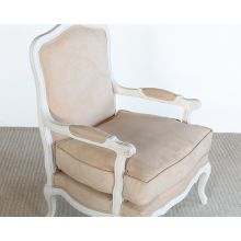 Bergere Chair in Tan Suede Upholstery