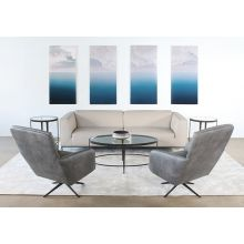 Gray Leather Modern Lounge Chair