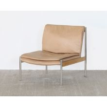 Buff Leather Lounge Chair W/ Steel And Ash Accents