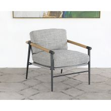 Light Gray Textured Lounge Chair W/Steel Legs