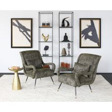 Dappled Green Lounge Chair with sculpted Arms