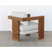 Open Arm Lounge Chair With Natural Upholstery