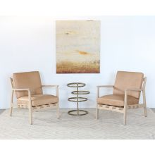 Whitewashed Ash Lounge Chair W/Tan Leather Seat