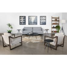 Ivory Leather Lounge Chair W/Sloped Arms