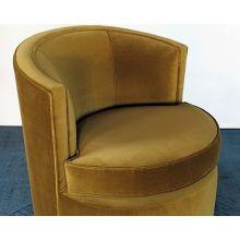 Swivel Lounge Chair In Mustard Velvet