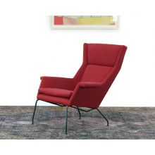 Mid Century Style Wing Chair In Poppy Red
