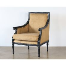Black French Style Burlap Lounge Chair