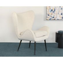 Cream Boucle Wing Chair With Iron Legs