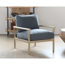 Slate Blue Lounge Chair With Light Wood Frame