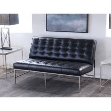 Mitchell Gold Major Loveseat in Black Leather