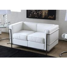 White Leather Corbusier Style Loveseat
