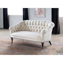 Tufted Loveseat in Linato Cream with Brass Nailhead Trim