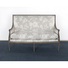 French Style Floral Print Linen Loveseat