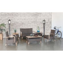 Brown Outdoor Loveseat With Wooden Arms