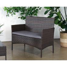 Dark Wicker Love Seat With Medium Grey Cushion