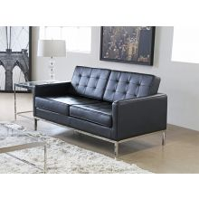 Black Leather Knoll Style Loveseat